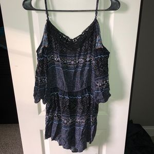 Black and blue romper